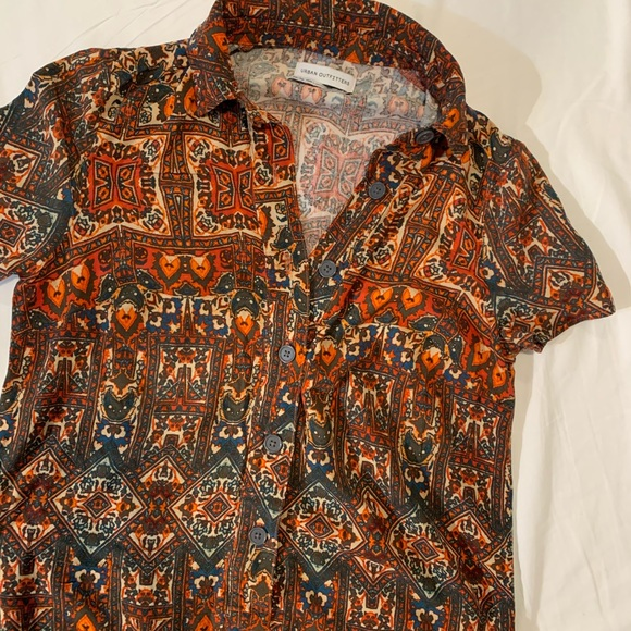 UO tribal print button front dress